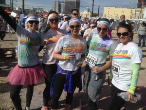 Team Hankins and Sohn at the end of the Las Vegas Color Run!