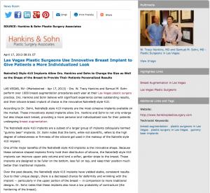 Las Vegas plastic surgery, breast augmentation, Las Vegas plastic surgeons, Dr. W. Tracy Hankins, Dr. Samuel Sohn